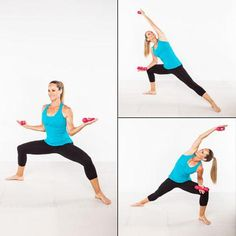 This move fuses a little Pilates, yoga, and resistance training to help you develop core strength, improve flexibility, and sculpt your thighs, back, and arms.