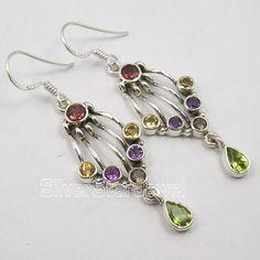 Multi Color Jewelry !!   Silver MULTISTONE WOMEN'S Earrings 5.2 CM #jewelrysilver