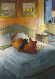 Art by Rudi Hurzlemeier Illustration Art, Illustrations, All About Cats, Whimsical Art, Animal Drawings, Crazy Cats, Cool Cats, Cat Art, Cats And Kittens