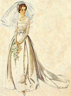 Vintage Wedding Dress Simplicity Pattern 5343 Looks like Kate! Wedding Dress Patterns, Designer Wedding Dresses, Vintage Dresses, Vintage Outfits, Vintage Fashion, Bridal Gowns, Wedding Gowns, Patron Vintage, Illustration Mode