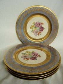 "5 WHEELING DEC. CO DINNER PLATES. Discontinued pattern WHD5 ""Gold Encrusted, Floral/Blue Floral Center. Five 11"" Dinner Plates. Good condition. No chips. Saturday Antique and Estate Auction - March 8, 2014.  Raleigh Auction & Estate Sales"