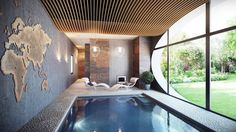 indoor pool designs: likable apartments astounding small indoor swimming pool design with word map wallpaper and alluring wooden ceiling style stylish indoor pool plans design ideas awesome modern residential and house