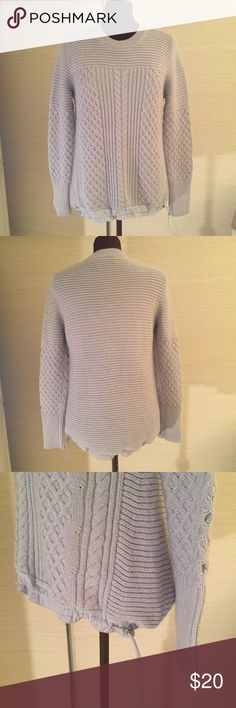 Banana Republic Sweater Excellent Used Condition. MATERIALS: 69% Cotton, 10% Nylon, 9% Acrylic, 7% Wool, & 5% Mohair. MEASUREMENTS: Shoulder Width - 16 inches, Back Length - 28 inches. COLOR: Light Lavender. The bottom pulls in with a cord. Banana Republic Sweaters Crew & Scoop Necks