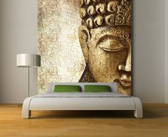 Fabulous Over Sized Buddha Wall Mural In Gold Accent : 12 Inspiring Images of Buddhist Home with Beautiful Buddha Decor Shown as Statues and Wall Painting