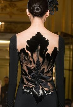 Yanina Spring Haute Couture Details/Black Evening Gown/Elegant/Sleek Low Bun/Floral Detail/Back Detail Couture Details, Fashion Details, Look Fashion, Fashion Design, Classy Fashion, High Fashion, Beautiful Gowns, Beautiful Outfits, Mode Inspiration