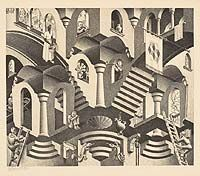Convex and Concave, March 1955 M.C. Escher  Dutch, 1898 - 1972   lithograph on laid japan paper 40.3 x 44.6 cm; image: 28 x 33.2 cm Gift of George Escher, Mahone Bay, Nova Scotia, 1987  National Gallery of Canada (no. 30014)