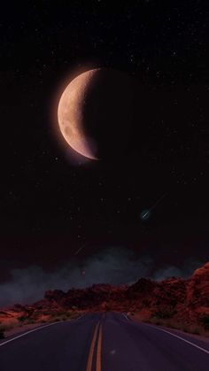 Eclipse Moon Road - iPhone Wallpapers