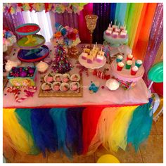 Candyland dessert table with two balloon columns rainbow tutu table skirt candy Mylar balloon Decor by Bella Party Decor in Chandler Arizona