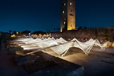 Cotton was the material of choice for design studio Barkow Leibinger when forming an undulating canopy in the centre of Marrakech.