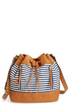 Egyetlen társadalom Stripe Canvas Mini Bucket Bag -