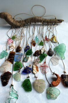 Beach Glass Sun Catcher Driftwood MobileBeach by CrystalsSeaglass, $65.00