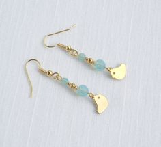Swarovski Pacific opal and gold earrings with vermeil bird charms by ParkhillDesigns on Etsy