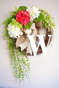 For Front Door (love fall and holday wreaths by this Etsy seller too) - Pink & White Hydrangea Monogram Grapevine Wreath by WreathDreams