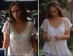 Season Episode Off-white transparent lace top with wide sleeves and wide V-neck over white vest top. Worn with bootcut jeans. Fashion Terms, Fashion Tv, Ghost Whisperer Style, Melinda Gordon, White Vest Top, Barbie Model, Jennifer Love Hewitt, Style Inspiration, Season 4