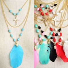 Assorted Color Feather & Cross Rosary Necklace New with tags. Gold tone necklace with different colored feathers and beads, and cross drop chain necklace. The mint one is more like the color in the first picture.                                                             🌺PRICE IS FIRM UNLESS BUNDLED.                             ❌SORRY, NO TRADES. Boutique Jewelry Necklaces