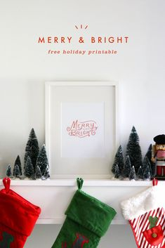 Merry & Bright Free Holiday Printable - A Pair of Pears