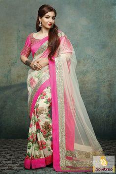 #OffWhite #Pink Creape Net Casual Saree #sarees, #sareesonline, #casualsaree, #printedsaree, #sareecollection, #festivalsaree, #sareeonlineshopping, #buysareeonline, #latestsaree, #fashionsaree,  #newsaree, #sareewithblouse, #formalsarees, #beautifulsaree, #pongal saree More : http://www.pavitraa.in/store/casual-saree/?utm_source=mk&utm_medium=pinterestpost&utm_campaign=12Jan Any Query :  Call / WhatsApp : +91-76982-34040