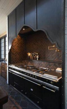 10 Amazing Gothic Furniture Designs: 10 Amazing Gothic Furniture Designs With Gothic Kitchen Island And Wooden Backsplash Design Deco Design, Design Case, Küchen Design, Home Design, Design Ideas, Kitchen Hoods, Kitchen Stove, Kitchen Backsplash, Stove Oven