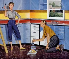 Home Improvement - detail from 1958 Super Ply Enamel ad.