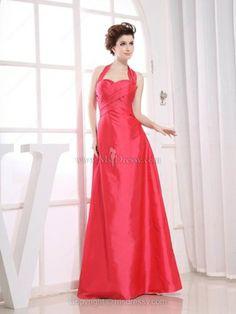 A-line Halter Taffeta Floor-length Ruched Evening Dresses