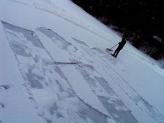 huge snow calligraphy with found tool