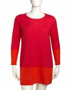 Cashmere Colorblock Dress, Women\'s, Tulip/Mercury by Neiman Marcus at Neiman Marcus Last Call.