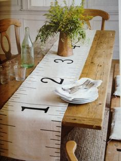 Fabulous table runner. Would look great in linen, hemp or hessian too.