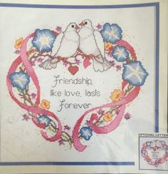 Celebrate friendship or personalize for wedding in 1980s style! Vintage Monarch Horizons Cross Stitch Kit Happiness Heart Friendship Or Wedding
