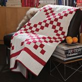 Irish Chain Quilt Kit.  Classic Irish Chain quilt turns mover with the red and white fabric from Moda.  Throw sized quilt.
