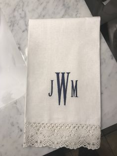 Personalized Guest Towel Monogram Cotton And Lace Decorative Bathroom Embroidered Wedding
