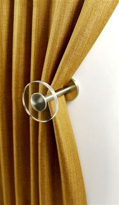 Tie back draperies with simplicity - Ice Collection By BRIMAR Curtain Tie Backs, Curtain Fabric, Interior Styling, Interior Decorating, Interior Design, Curtain Accessories, Custom Window Treatments, Window Styles, Drapery Hardware