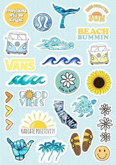 VSCO Girls Light Blue Yellow Stickers for Bottle Phone Case Laptop Tumbler 23 Pc. - VSCO Girls Light Blue Yellow Stickers for Bottle Phone Case Laptop Tumbler 23 Pc… – Art inspi - Stickers Cool, Tumblr Stickers, Phone Stickers, Journal Stickers, Planner Stickers, Cute Laptop Stickers, Macbook Stickers, Kawaii Stickers, Travel Sticker