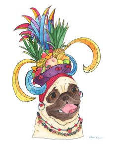 Carmen Miranda Pug by Claire Chambers - available at Chickenpants.com