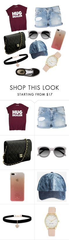 """""""Summer outfit #1"""" by michelleoctavio ❤ liked on Polyvore featuring Armani Jeans, Chanel, Kate Spade, Ashley Stewart, Betsey Johnson, Nine West and Vans"""