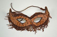 BEAD EMBROIDERED LEOPARD MASK - Feline shaped mask - by Dargate Auction Galleries