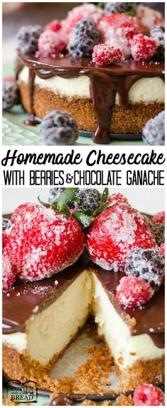 Cheesecake with Berries & Chocolate Ganache is a creamy, homemade, six-inch cheesecake topped with a rich chocolate ganache.