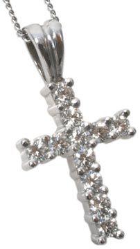 Diamond cross pendant in 14kt white gold | Hannoush.com