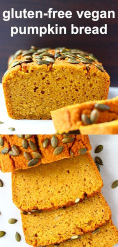 This Gluten-Free Vegan Pumpkin Bread is moist, subtly spiced, perfectly dense and comes together in one bowl. It's a great breakfast, brunch, snack or dessert that works for autumn/fall, Thanksgiving, Christmas and the holidays. It's egg-free, dairy-free, gluten-free and refined sugar free, or can be made completely free from added sugar for a more savoury version. Gluten Free Vegan Pumpkin Bread, Vegan Gluten Free, Dairy Free, Vegan Treats, Vegan Desserts, Yummy Treats, Healthy Bars, Healthy Food, Healthy Eating