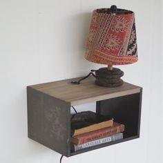 Metal and Wood Bedside Table Wall Shelf