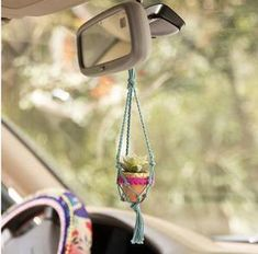 Teal Mini Macramé Succulent - The adorable Mini Macrame faux Succulent is perfect to hang in any tiny spot. We love hanging them in our car's rear view mirror! Mini Cactus, Suculentas Diy, Bling Car Accessories, Girly Car, Car Essentials, Faux Succulents, Hanging Succulents, Hanging Plants, Car Hacks