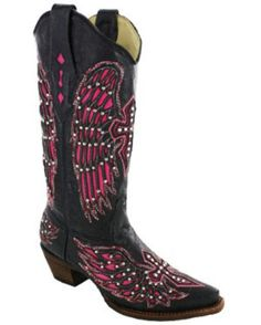 Love the design. Prefer red to pink and would like to see these is a little taller heel. CORRAL Boots -- Women's Black-Pink Wing & Cross With Studs & Crystals Boot - A1049