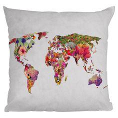 Floral Print World Map Pillow