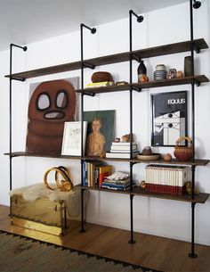 I love the pipe shelves  DIY instructions http://www.the-brick-house.com/2009/09/shelving-unit/