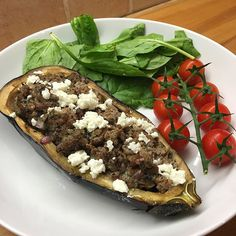 OMG I just stuffed this aubergine with minted lamb and feta cheese and it's…