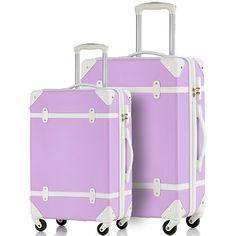 Merax Travelhouse 2 Piece ABS Luggage Set Vintage Suitcase at Meritline…
