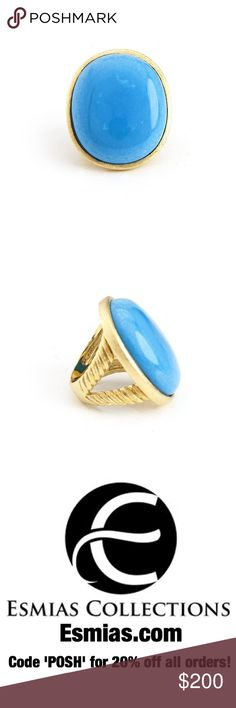 Magnesite Oval Split Shank Ring by Rivka Friedman Sold by esmias.com. Size 7. Magnesite Oval Split Shank Ring. 18K Gold Plated. Features: Oval Cabochon Magnesite Satin Split Shank. Made & Designed by Rivka Friedman. Imported. Rivka Friedman Jewelry Rings