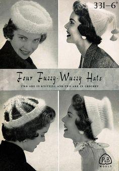 PDF Vintage Womens Ladies Hats Knitting Crochet Pattern Booklet Pill Box Mushroom Juliet Cap P & B Patons and Baldwin 331 Ladies Hats, Hats For Women, Knitting Patterns, Crochet Patterns, Turbans, Vintage Knitting, Headpieces, Hobby Lobby, Pin Up Girls