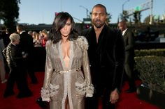 Kim Kardashian (L) and recording artist Kanye West attend The 57th Annual GRAMMY Awards at the STAPLES Center on February 8, 2015 in Los Angeles, California.