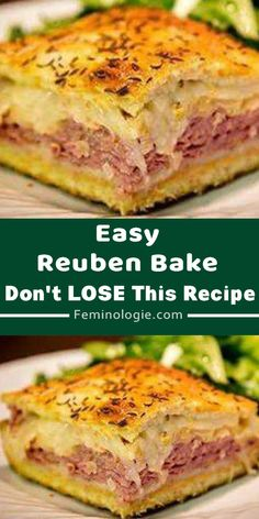 Reuben Bake You'll Need: 2 tubes ounces each) of refrigerated crescent rolls. 1 pound of sliced swiss cheese. pounds of sliced deli corned beef. 1 can ounces) rinsed and drained sauerkraut. cup of Thousand Island salad dressing. Gourmet Sandwiches, Baked Sandwiches, Cold Sandwiches, Sandwich Recipes, Easy Casserole Recipes, Casserole Dishes, Reuben Casserole, Beef Dishes, Food Dishes