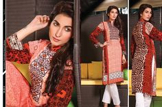 #Strawberry Lovely Red Pink green #Embroidered #Kurti Winter dresses 2015